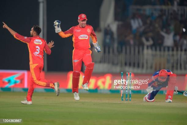 Karachi Kings Alex Hales reacts after successful stump out Islamabad United wicketkeeper Luke Ronchi on the ball of Safi Abdullah during the Pakistan...