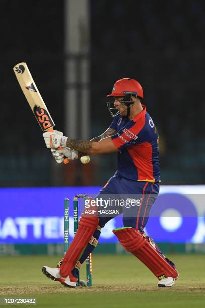 Karachi Kings Cameron Delport is clean bowled during the Pakistan Super League T20 cricket match between Karachi Kings and Quetta Gladiators at the...