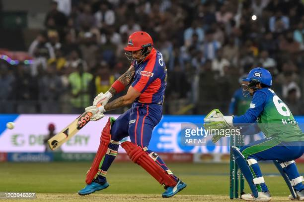 Karachi Kings' Cameron Delport plays a shot during the Pakistan Super League T20 cricket match between Karachi Kings and Multan Sultans at the Multan...