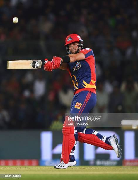 Karachi Kings cricketer Colin Ingram plays a shot during the elimination match between the Islamabad United and Karachi Kings of the Twenty20...