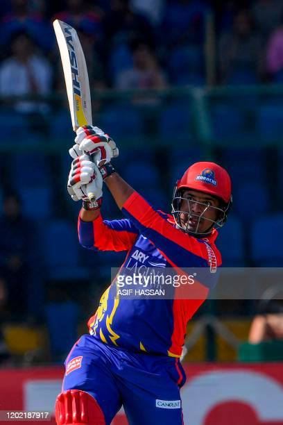 Karachi Kings' Sharjeel Khan plays a shot during the Pakistan Super League Twenty20 cricket match between Peshawar Zalmi and Karachi Kings at the...