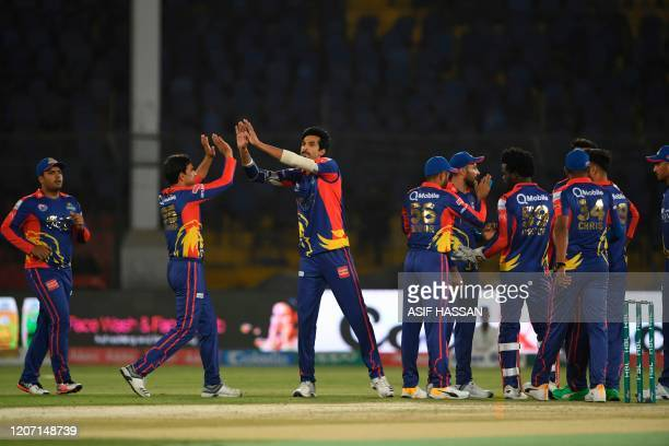 Karachi Kings Umaid Asif celebrates the wicket of Rizwan Hussain during the T20 cricket match between Karachi Kings and Islamabad United at the...