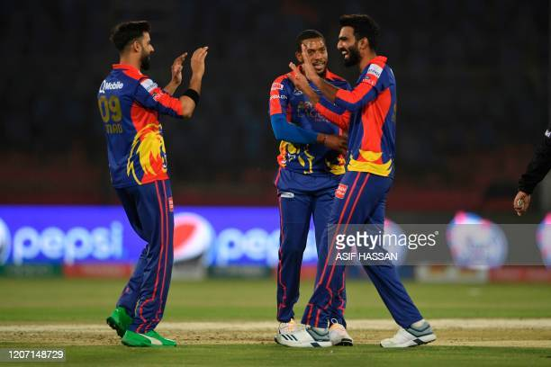 Karachi Kings Usama Mir celebrates the wicket of Islamabad United Asif Ali during the T20 cricket match between Karachi Kings and Islamabad United at...