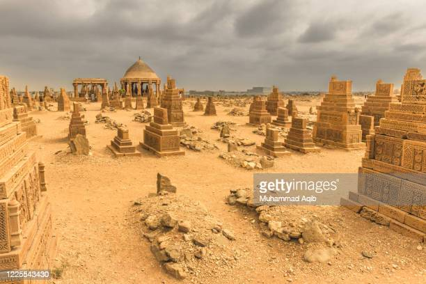 karachi pakistan 2019, chaukhandi tombs same as makli necropolis in sindh, a hundreds of years old graveyard, chaukhandi graveyard, landmarks of karachi sindh, history. - archaeology stock pictures, royalty-free photos & images