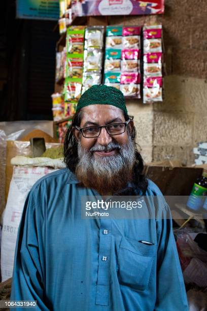 Karachi Pakistan 8 October 2018 Portrait of a merchant of everyday objects in the Empress market it is amongst the most popular and busy places for...