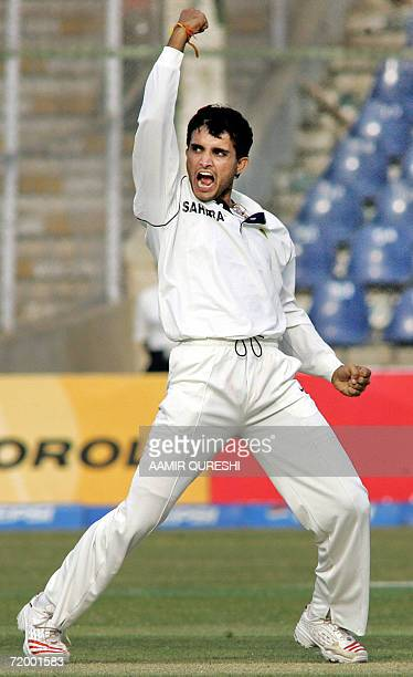 In this picture taken 30 January 2006 Indian cricketer Sourav Ganguly shouts as he celebrate after he taking the wicket of unseen Pakistani batsman...