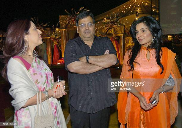 Indian film producer Subhash Ghai talks with Pakistani producer Samina Pirzada and Pakistani popular film actress Meera prior to the opening ceremony...