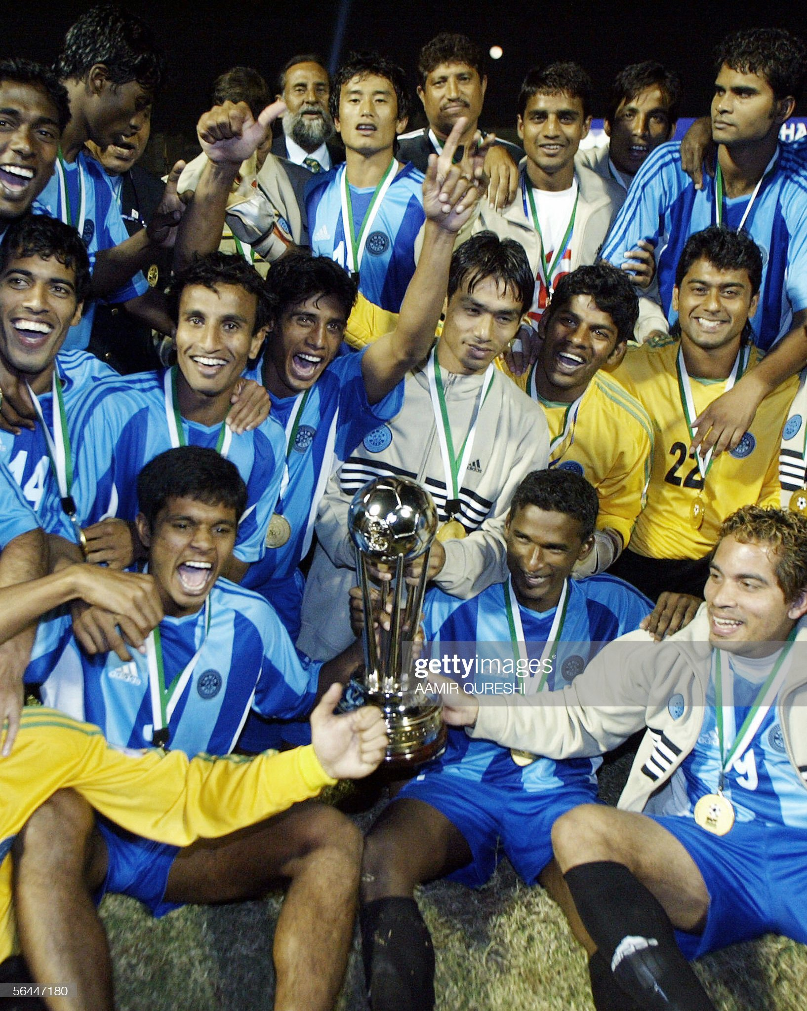 Indian football players celebrate as the : News Photo