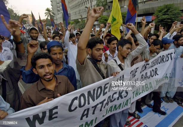 Pakistani activists from Islami Jamiat Tulba the student wing of the main fundamentalist Islamic party JamaatiIslami shout slogans against the army...