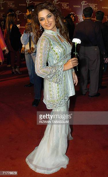 Pakistani film actress Meera poses for photographers during the 5th Lux Style Awards 2006 in Karachi late 02 September 2006 The 5th Lux Style Awards...
