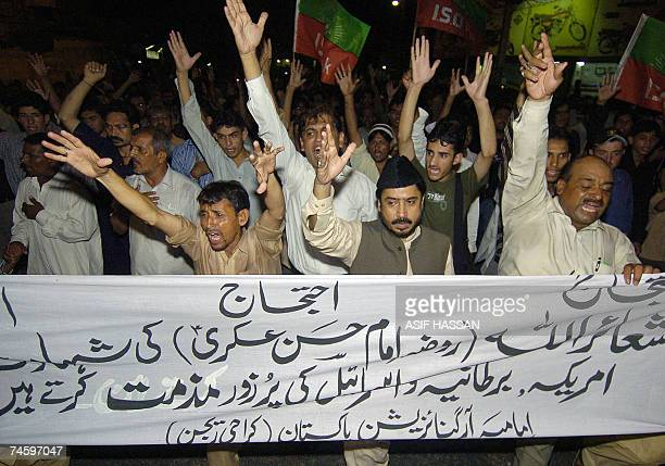 Pakistani Shiite Muslims shout slogans during a protest in Karachi 14 June 2007 to denounce an attack on Imam AlAskari Mosque at Samarra in Iraq...