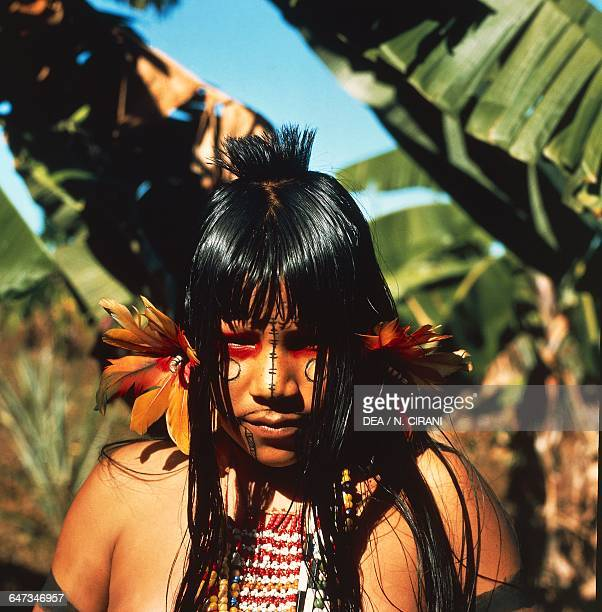 Karaja ethnic girl with her face painted The Amazon rainforest Brazil