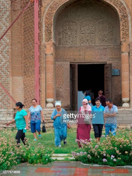 Karakhanid mausoleum dating back to the 12th century. City Uzgen close to the border to Uzbekistan. Asia. Central Asia. Kyrgyzstan.