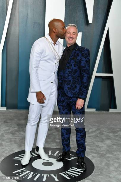 Karamo Brown and Ian Jordan attend the 2020 Vanity Fair Oscar party hosted by Radhika Jones at Wallis Annenberg Center for the Performing Arts on...