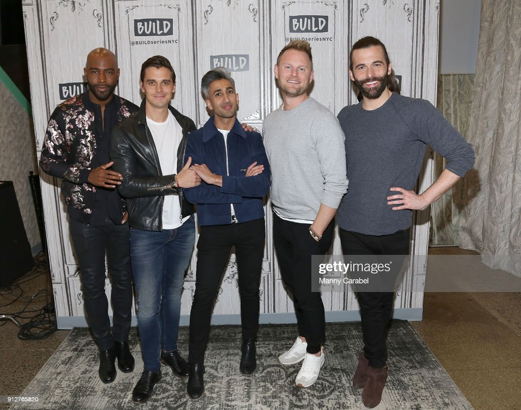 Karamo Brown, Antonio Porowski, Tan France, Bobby Berk and Jonathan Van Ness visit the Build Series at Build Studio on January 31, 2018 in New York City.