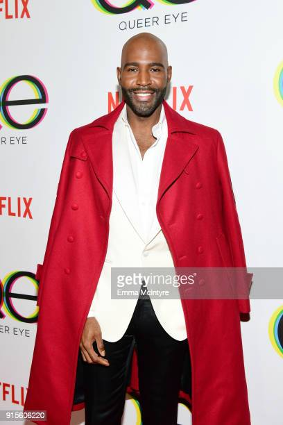 Karamo Brown attends the premiere of Netflix's Queer Eye Season 1 at Pacific Design Center on February 7 2018 in West Hollywood California