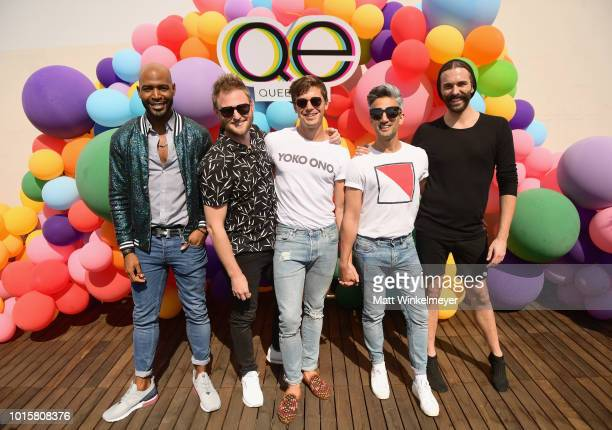 Karamo Brown Bobby Berk Antoni Porowski Tan France and Jonathan Van Ness attend Netflix's Queer Eye and GLSEN event at NeueHouse Hollywood on August...