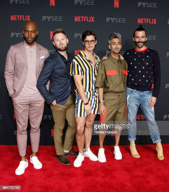 Karamo Brown, Bobby Berk, Antoni Porowski, Tan France, and Jonathan Van Ness attend the NETFLIXFYSEE event for 'Queer Eye' at Netflix FYSEE At...