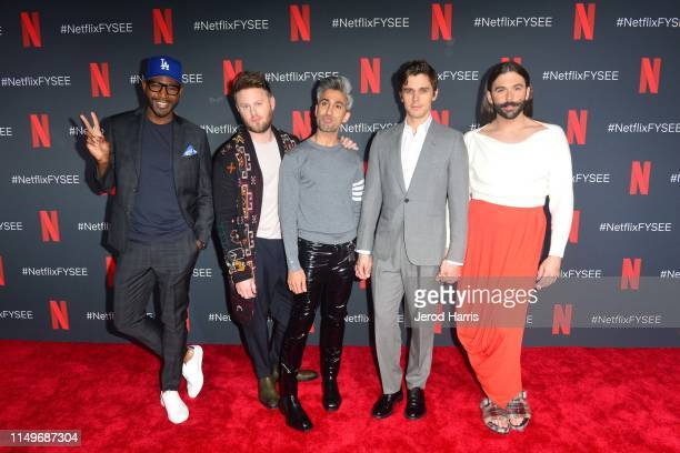 Karamo Brown, Bobby Berk, Tan France, Antoni Porowski and Jonathan Van Ness attend FYC Event of Netflix's 'Queer Eye' at Raleigh Studios on May 16,...