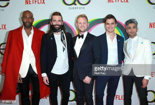 Karamo Brown Jonathan Van Ness Bobby Berk Antoni Porowski and Tan France attend Netflix's Queer Eye premiere screening and after party on February 7...