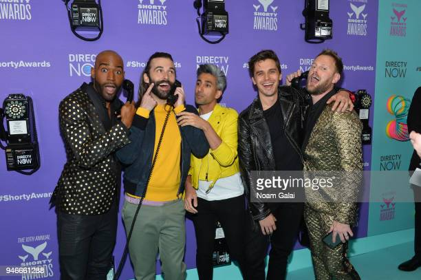 Karamo Brown Jonathan Van Ness Tan France Antoni Porowski and Bobby Berk of Queer Eye attend the 10th Annual Shorty Awards at PlayStation Theater on...