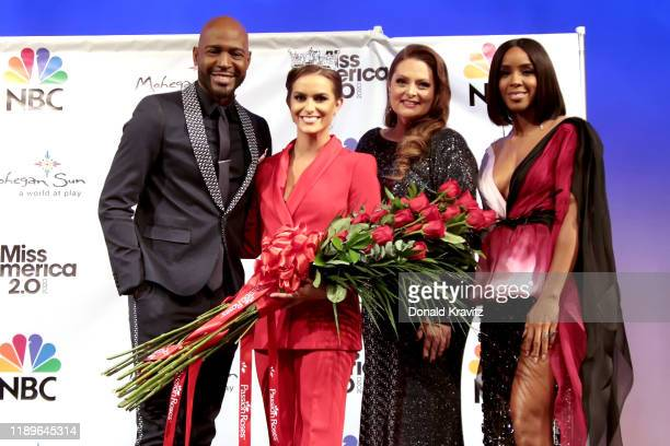 Karamo Brown, Miss America 2020 Camille Schrier, Lauren Ash and Kelly Rowland pose for photographs at the Miss America Post Press Conference at...