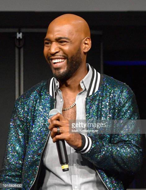 Karamo Brown speaks onstage during attends Netflix's Queer Eye and GLSEN event at NeueHouse Hollywood on August 12, 2018 in Hollywood, California.