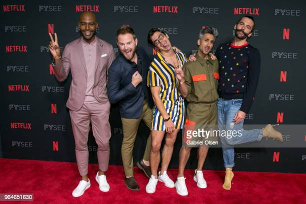 Karamo BrownBobby Berk Antoni Porowski Tan France and Jonathan Van Ness attend #NETFLIXFYSEE Event For 'Queer Eye' at Netflix FYSEE At Raleigh...