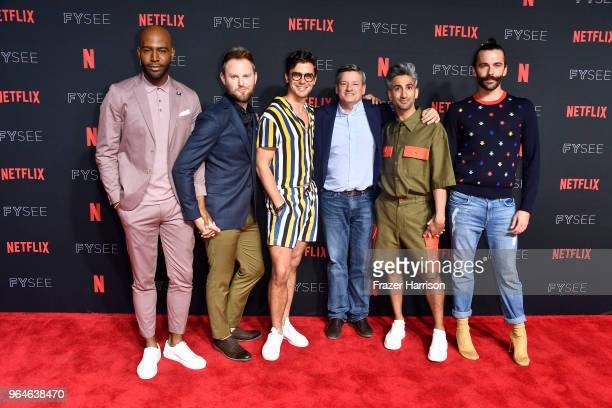 Karamo BrownBobby Berk Antoni Porowski Ted Sarandos Tan France Jonathan Van Ness attends #NETFLIXFYSEE Event For 'Queer Eye' at Netflix FYSEE At...