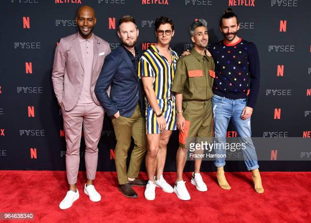 Karamo BrownBobby BerkAntoni PorowskiTan France Jonathan Van Ness attends #NETFLIXFYSEE Event For Queer Eye at Netflix FYSEE At Raleigh Studios on...