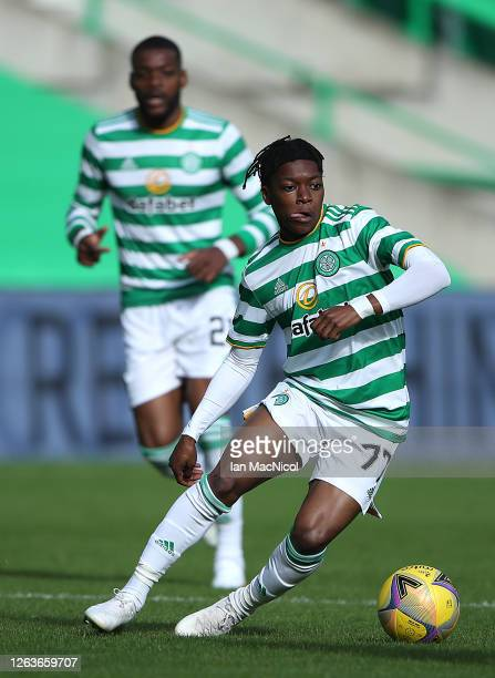 Karamoko Dembele of Celtic controls the ball during the Ladbrokes Premiership match between Celtic and Hamilton Academical at Celtic Park Stadium on...