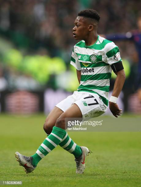 Karamoko Dembele of Celtic in action during the Ladbrokes Scottish Premiership match between Celtic and Hearts at Celtic Park on May 19, 2019 in...