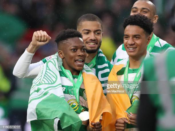 Karamoko Dembele of Celtic is seen during the Scottish Premier league match between Celtic and Hearts at Celtic Park on May 19, 2019 in Glasgow,...