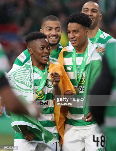 Karamoko Dembele of Celtic is seen during the Scottish Premier league match between Celtic and Hearts at Celtic Park on May 19 2019 in Glasgow...
