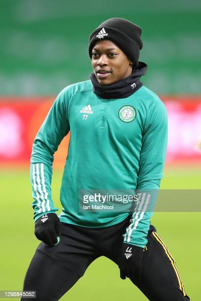 Karamoko Dembele of Celtic warms up ahead of the Ladbrokes Scottish Premiership match between Celtic and Hibernian at Celtic Park on January 11, 2021...