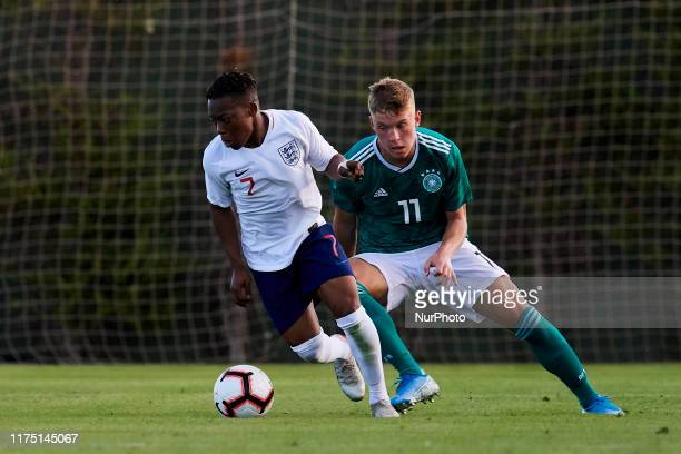 Karamoko Dembele of England and Luca Netz of Germany competes for the ball during the international friendly match between England U17 and Germany...