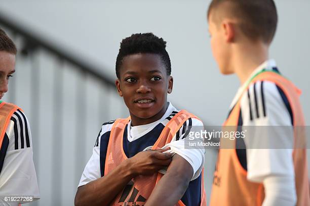 Karamoko Dembele of Scotland is seen during the Scotland v Northern Ireland match during the U16 Vicrory Shield Tournament at The Oriam at Heriot...