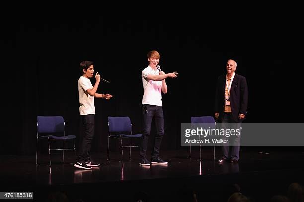 Karan Brar Calum Worthy and David Gideon speak on stage at Greenwich Film Festival 2015 Children's Acting Workshop at Massey Theater At Greenwich...