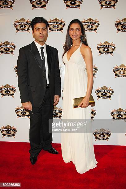 Karan Johar and Deepika Padukone attend CHIVAS celebrates the launch of their new luxury whiskey at NY Public Library NYC on September 28 2007