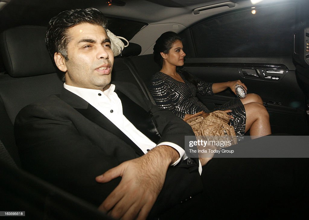 Karan Johar arrives with Kajol at a bash hosted in honour of H`wood director Steven Spielberg in Mumbai on March 12 2013