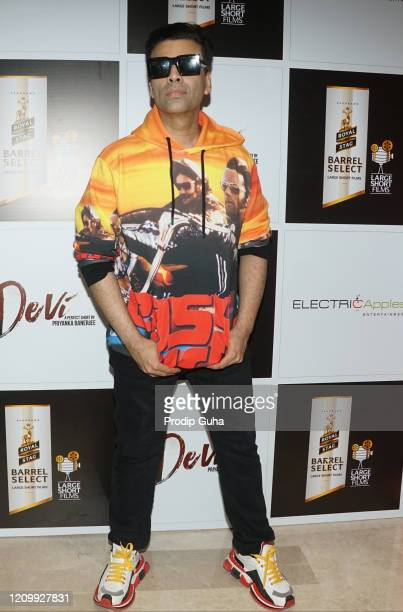 "Karan Johar attends the screening of the short film ""Devi"" on March 2, 2020 in Mumbai, India."