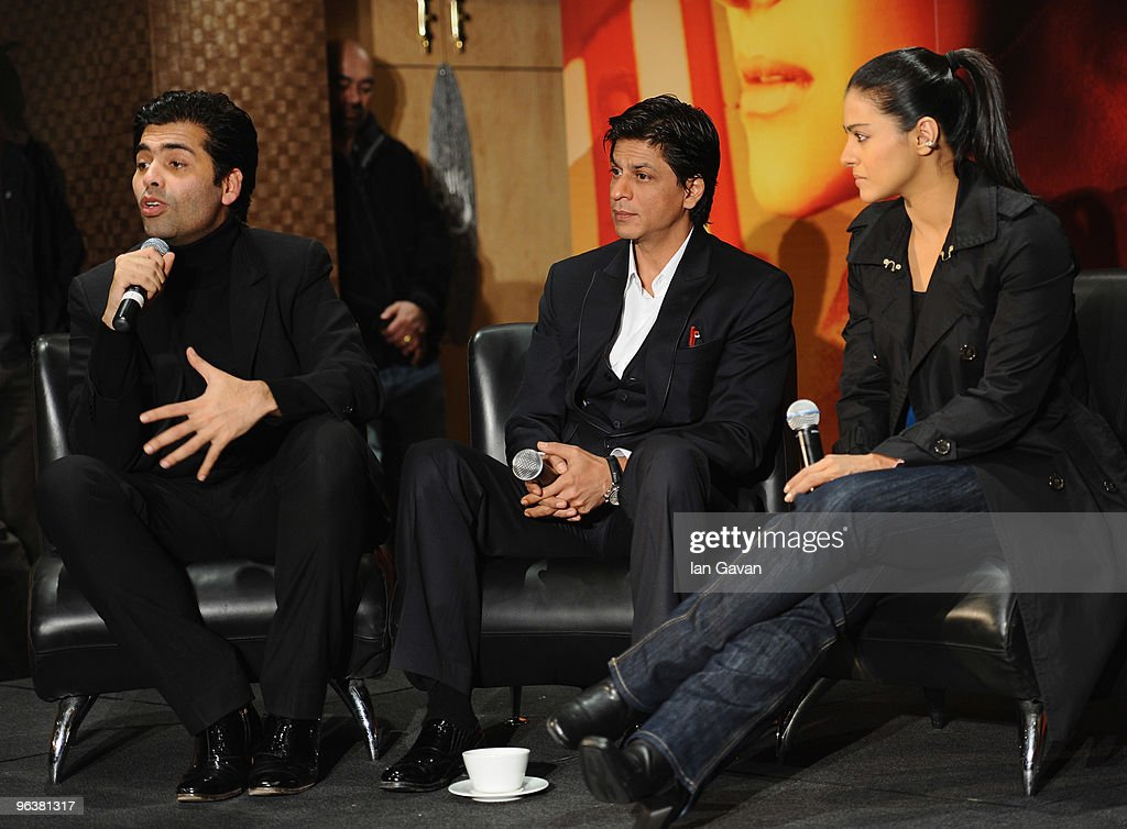 Karan Johar Shah Rukh Khan and Kajol attend the `My Name Is Khan` press conference at the Courthouse Hotel on February 3 2010 in London England