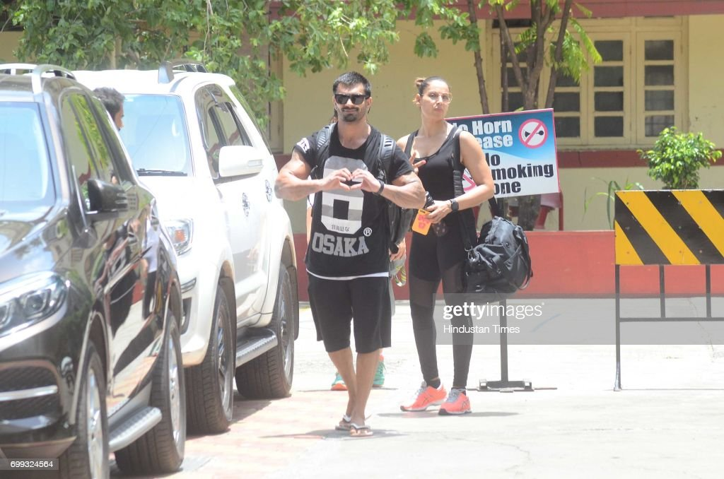 Karan Singh Grover and Bipasha Basu spotted at their gym in Bandra on June 18 2017 in Mumbai India The interiors of restaurant were done by Gauri