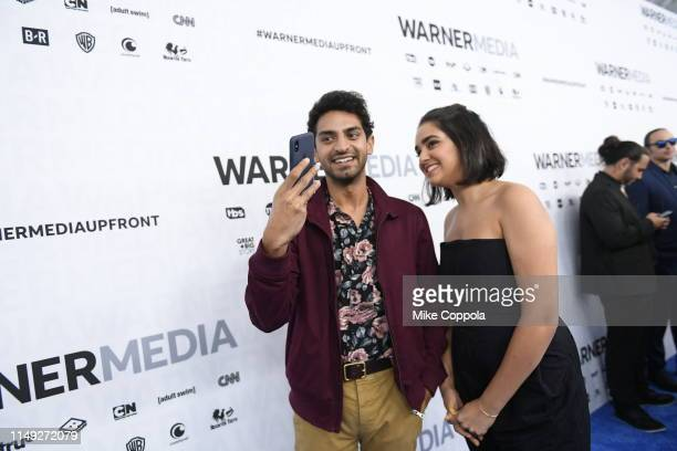 Karan Soni and Geraldine Viswanathan of TBS's Miracle Workers attend the WarnerMedia Upfront 2019 arrivals on the red carpet at The Theater at...