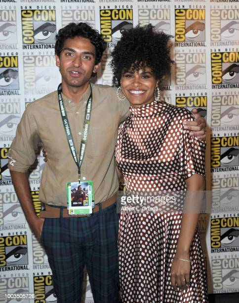 Karan Soni and Zazie Beetz attend the Deadpool 2 panel during ComicCon International 2018 at San Diego Convention Center on July 21 2018 in San Diego...