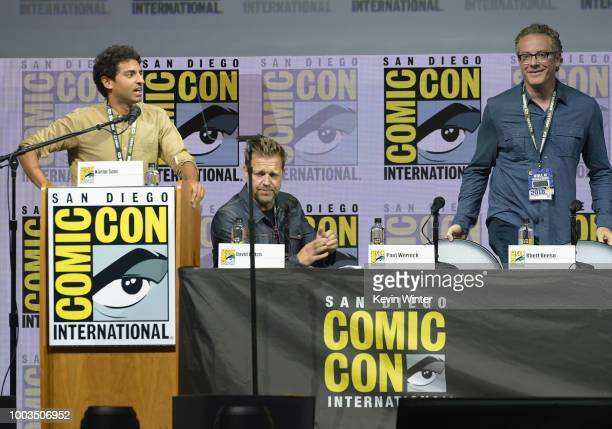 Karan Soni David Leitch and Paul Wernick speak onstage at the Deadpool 2 panel during ComicCon International 2018 at San Diego Convention Center on...