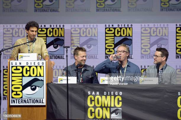 Karan Soni David Leitch Paul Wernick and Rhett Reese speak onstage at the Deadpool 2 panel during ComicCon International 2018 at San Diego Convention...