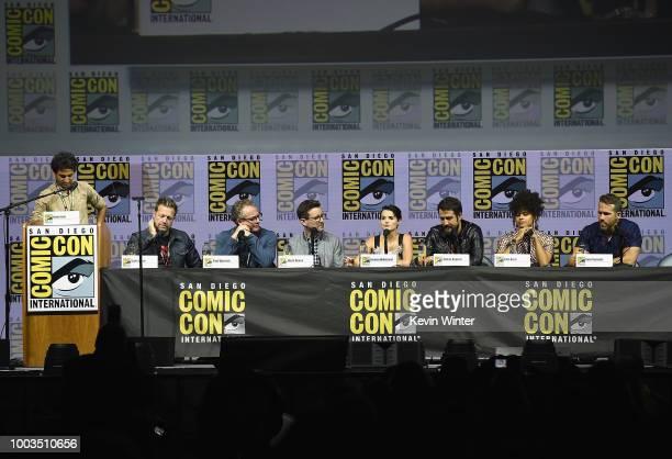 Karan Soni David Leitch Paul Wernick Rhett Reese Brianna Hildebrand Stefan Kapicic Zazie Beetz and Ryan Reynolds speak onstage at the Deadpool 2...