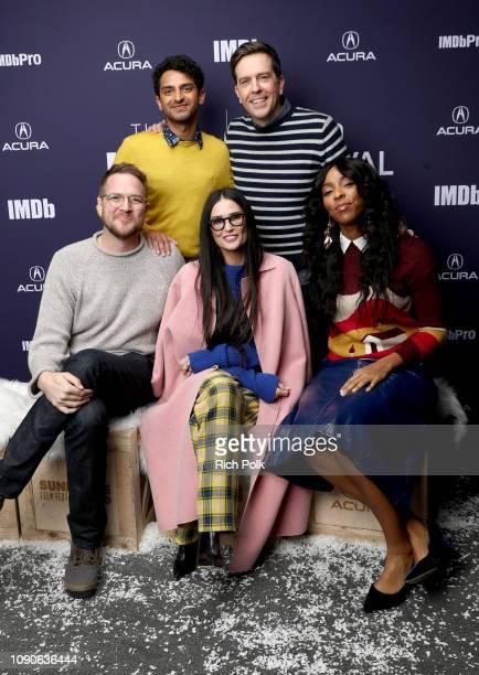 Karan Soni Patrick Brice Ed Helms Demi Moore and Jessica Williams of Corporate Animals attend The IMDb Studio at Acura Festival Village on location...