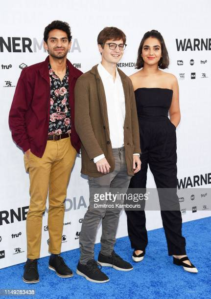 Karan Soni Simon Rich and Geraldine Viswanathan of TBS's Miracle Workers attend the WarnerMedia Upfront 2019 arrivals on the red carpet at The...